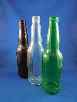 "Beer Bottles - Brown, Green, Clear, 9"" Tall"