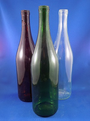 "Wine Bottle - Long neck - Brown, Green, Clear - 11 1/2"" Tall"