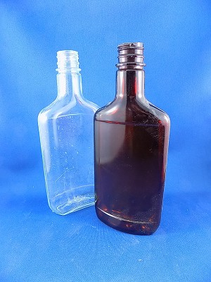 "Mickey New Style Bottle - Brown & Clear - 8 1/4"" Tall"