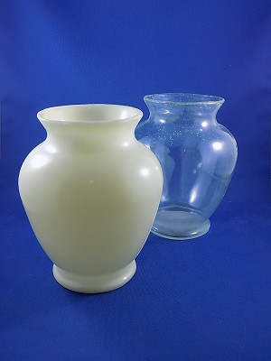 "Vase - White & Clear - 6 1/2"" Tall"